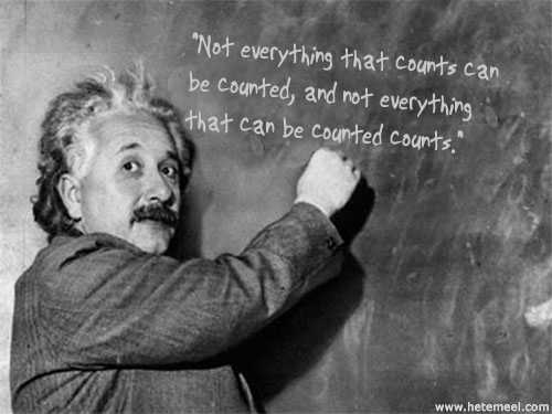 albert einstein writing quote on blackboard
