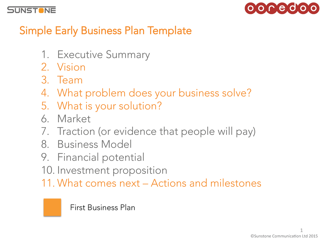 simple business plan template startup