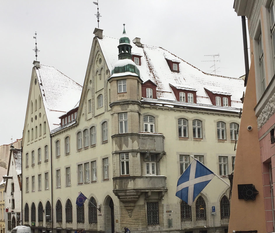 Old Town, Tallinn Estonia with the scottish saltire flag flying